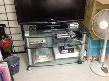 Large glass corner TV stand w/casters in Okinawa, Japan